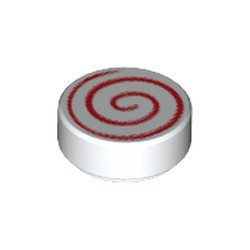 White Tile, Round 1 x 1 with Spiral Red Pattern - new