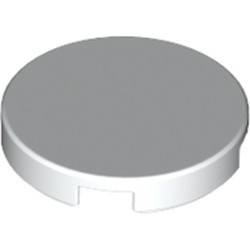White Tile, Round 2 x 2 with Bottom Stud Holder - used