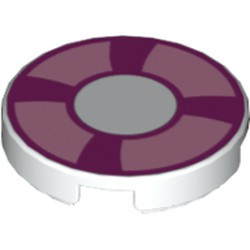 White Tile, Round 2 x 2 with Bottom Stud Holder with Magenta and Bright Pink Life Preserver, Curved Bands Pattern