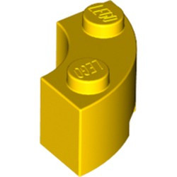 Yellow Brick, Round Corner 2 x 2 Macaroni with Stud Notch - used