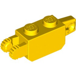 Yellow Hinge Brick 1 x 2 Locking with 1 Finger Vertical End and 2 Fingers Vertical End, 9 Teeth - used