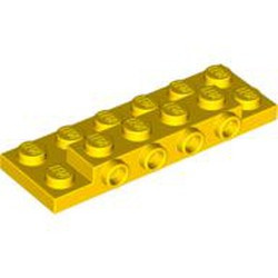 Yellow Plate, Modified 2 x 6 x 2/3 with 4 Studs on Side - new
