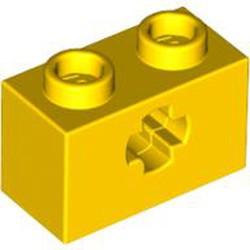 Yellow Technic, Brick 1 x 2 with Axle Hole