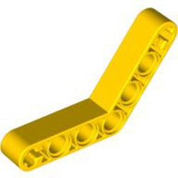 Yellow Technic, Liftarm 1 x 7 Bent (4 - 4) Thick - new
