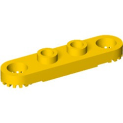 Yellow Technic, Plate 1 x 4 with Toothed Ends - used