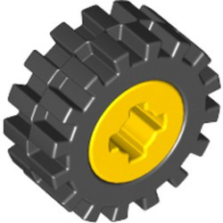 Yellow Wheel 8mm D. x 6mm with Black Tire 15mm D. x 6mm Offset Tread Small (4624 / 3641) - used