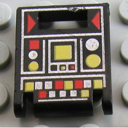 Black Container, Box 2 x 2 x 2 Door with Slot and Red and Yellow Controls Pattern