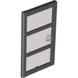 Black Door 1 x 4 x 6 with 3 Panes and Stud Handle with Trans-Black Glass - used