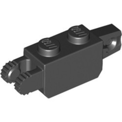 Black Hinge Brick 1 x 2 Locking with 1 Finger Vertical End and 2 Fingers Vertical End, 7 Teeth