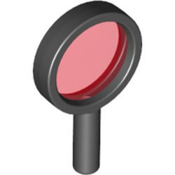 Black Minifigure, Utensil Magnifying Glass with Trans-Red Lens (Alpha Team) - used
