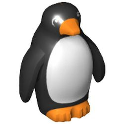 Black Penguin with Flippers and Stud on Back with Orange Beak and Feet and White Stomach Pattern