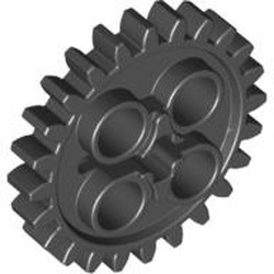 Black Technic, Gear 24 Tooth (2nd Version - 1 Axle Hole) - used