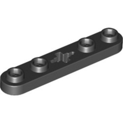 Black Technic, Plate 1 x 5 with Smooth Ends, 4 Studs and Center Axle Hole - new