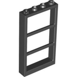 Black Window 1 x 4 x 6 Frame with 3 Panes