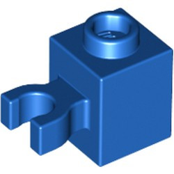 Blue Brick, Modified 1 x 1 with Open O Clip (Vertical Grip) - new - Hollow Stud