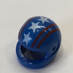 Blue Minifigure, Headgear Helmet Motorcycle with Red Lines and White Stars Pattern - used