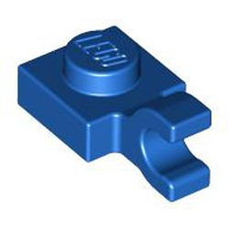 Blue Plate, Modified 1 x 1 with Open O Clip (Horizontal Grip) - new