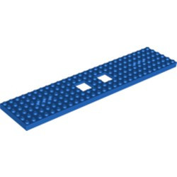 Blue Train Base 6 x 28 with 2 Square Cutouts and 3 Round Holes Each End - new