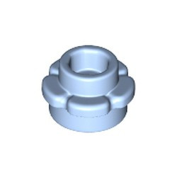Bright Light Blue Plate, Round 1 x 1 with Flower Edge (5 Petals) - used
