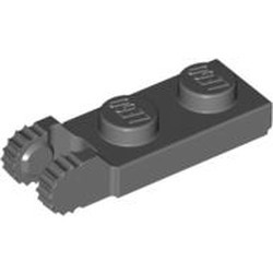 Dark Bluish Gray Hinge Plate 1 x 2 Locking with 2 Fingers on End and 9 Teeth with Bottom Groove - new