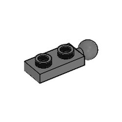 Dark Bluish Gray Plate, Modified 1 x 2 with Tow Ball on End