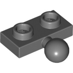 Dark Bluish Gray Plate, Modified 1 x 2 with Tow Ball on Side - used