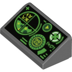 Dark Bluish Gray Slope 30 1 x 2 x 2/3 with Green Gauges and Radar Screen on Black Background Pattern - new