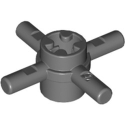 Dark Bluish Gray Technic, Axle Connector Hub with 4 Bars and Pin Hole - used