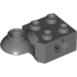 Dark Bluish Gray Technic, Brick Modified 2 x 2 with Pin Hole, Rotation Joint Ball Half (Horizontal Top) - used