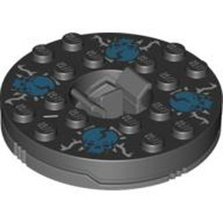 Dark Bluish Gray Turntable 6 x 6 Round Base with Black Top with Blue Skulls on White Pattern (Ninjago Spinner) - used