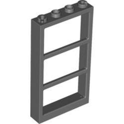 Dark Bluish Gray Window 1 x 4 x 6 Frame with 3 Panes