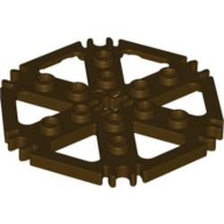 Dark Brown Technic, Plate Rotor 6 Blade with Clip Ends Connected (Water Wheel) - used