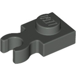 Dark Gray Plate, Modified 1 x 1 with U Clip Thick (Vertical Grip) - used