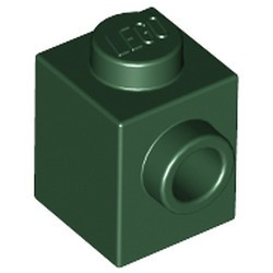 Dark Green Brick, Modified 1 x 1 with Stud on 1 Side - used