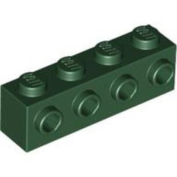 Dark Green Brick, Modified 1 x 4 with 4 Studs on 1 Side - new