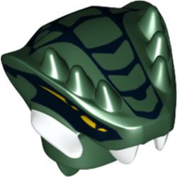 Dark Green Minifigure, Head, Modified Snake with Horns and Black Scales Pattern (Lizaru) - used