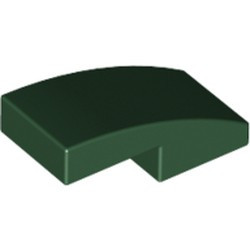 Dark Green Slope, Curved 2 x 1 - new
