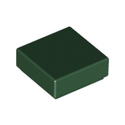 Dark Green Tile 1 x 1 with Groove