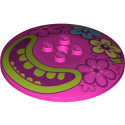 Dark Pink Dish 6 x 6 Inverted (Radar) - new - Solid Studs with 4 Flowers and Large Magenta Mouth, Lime Lips and Teeth Pattern