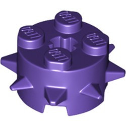 Dark Purple Brick, Round 2 x 2 with Spikes and Axle Hole - used