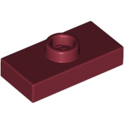Dark Red Plate, Modified 1 x 2 with 1 Stud without Groove (Jumper) - used
