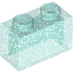 Glitter Trans-Light Blue Brick 1 x 2 without Bottom Tube - used
