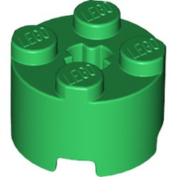 Green Brick, Round 2 x 2 with Axle Hole - new