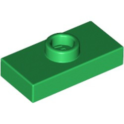 Green Plate, Modified 1 x 2 with 1 Stud without Groove (Jumper) - new