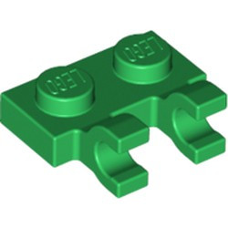Green Plate, Modified 1 x 2 with 2 Open O Clips (Horizontal Grip) - used