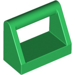 Green Tile, Modified 1 x 2 with Bar Handle - used