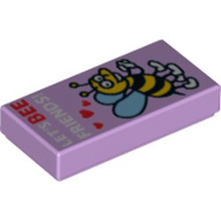 Lavender Tile 1 x 2 with Groove with Bee with Hearts and 'LET'S BEE FRIENDS' Pattern - new