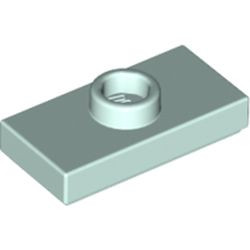 Light Aqua Plate, Modified 1 x 2 with 1 Stud with Groove and Bottom Stud Holder (Jumper) - new