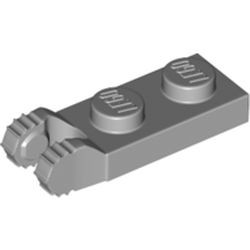 Light Bluish Gray Hinge Plate 1 x 2 Locking with 2 Fingers on End and 7 Teeth without Bottom Groove