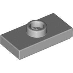 Light Bluish Gray Plate, Modified 1 x 2 with 1 Stud with Groove and Bottom Stud Holder (Jumper) - used
